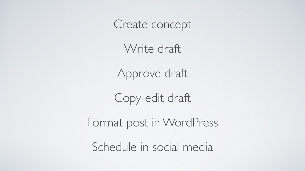 Create concept  Write draft  Approve draft...