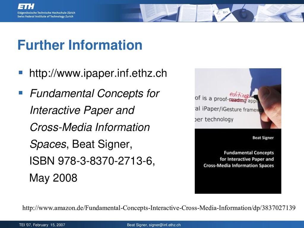 TEI '07, February 15, 2007 Beat Signer, signer@...