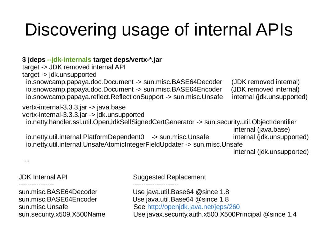 Discovering usage of internal APIs $ jdeps --jd...