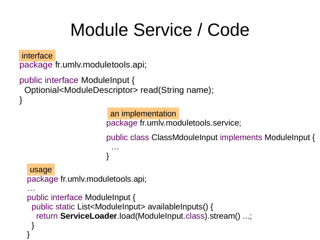 Module Service / Code package fr.umlv.moduletoo...