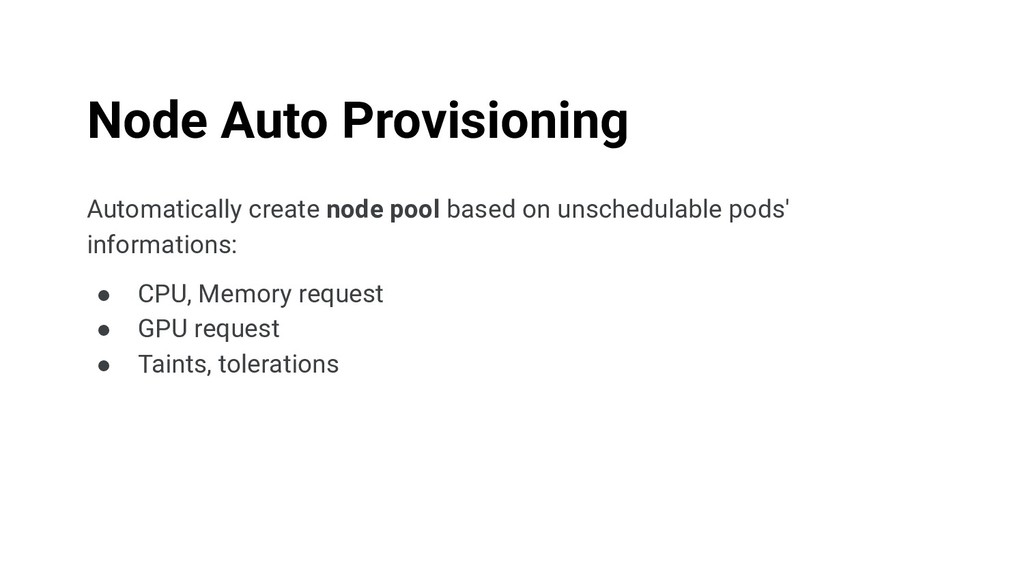 Automatically create node pool based on unsched...
