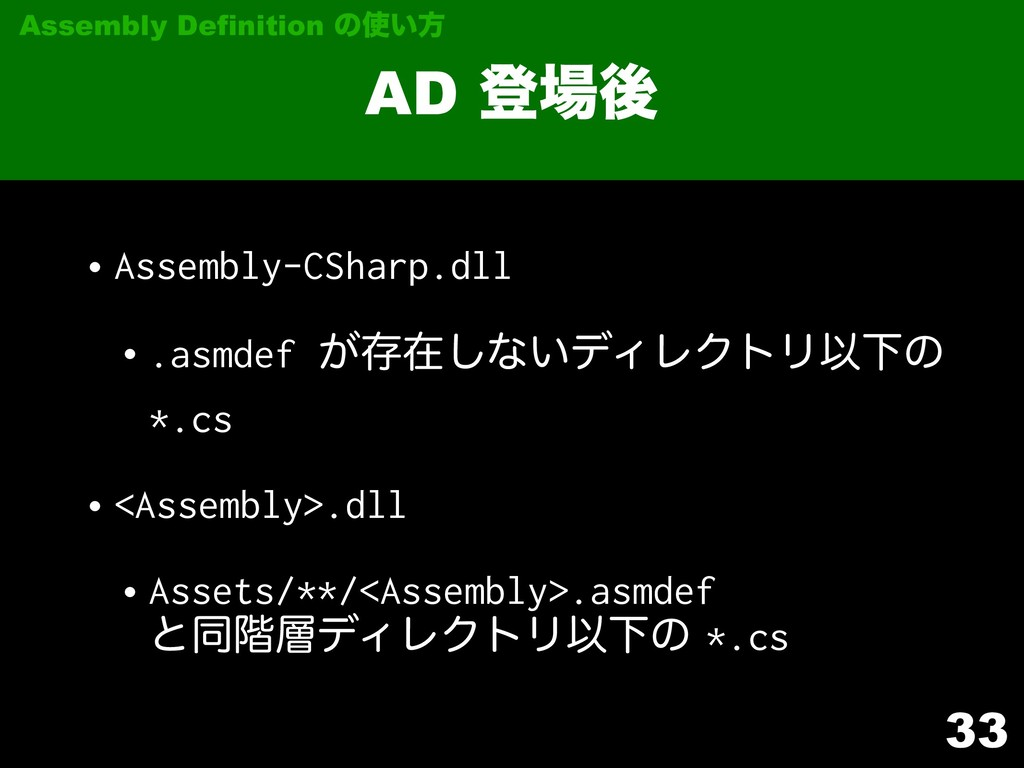 33 AD ొޙ Assembly Definition ͷ͍ํ •Assembly-CS...