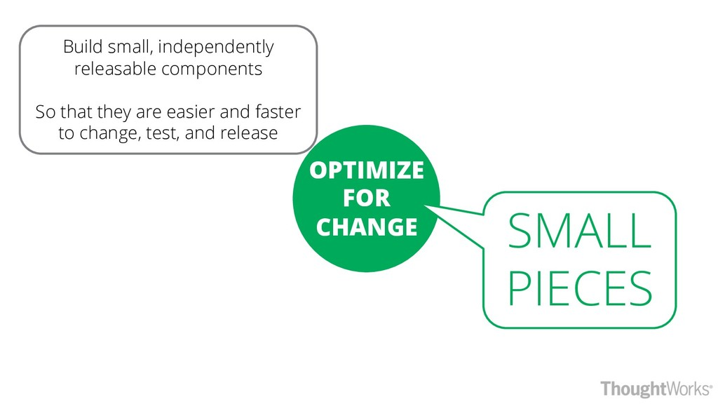 OPTIMIZE FOR CHANGE Build small, independently ...