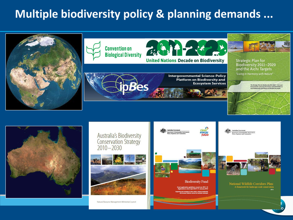 Multiple biodiversity policy & planning demands...