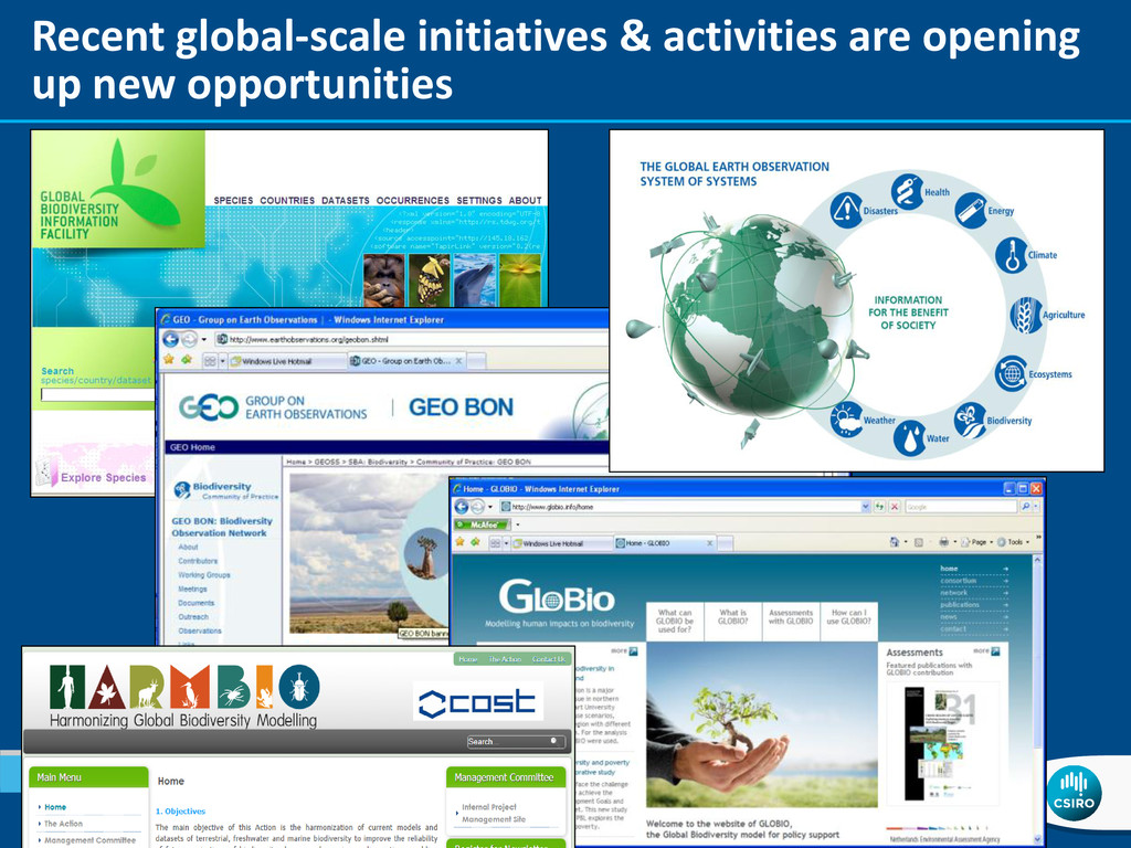 Recent global-scale initiatives & activities ar...