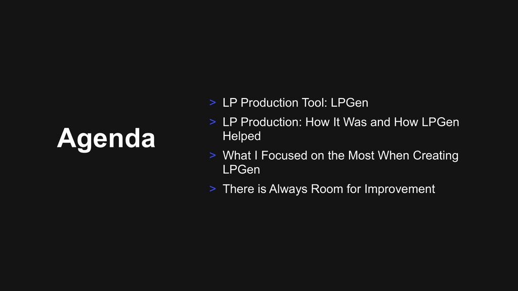 Agenda > LP Production Tool: LPGen > LP Product...