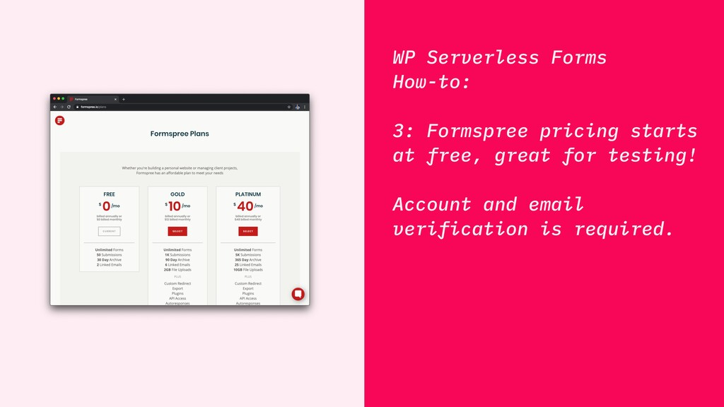 WP Serverless Forms How-to: 3: Formspree pricin...