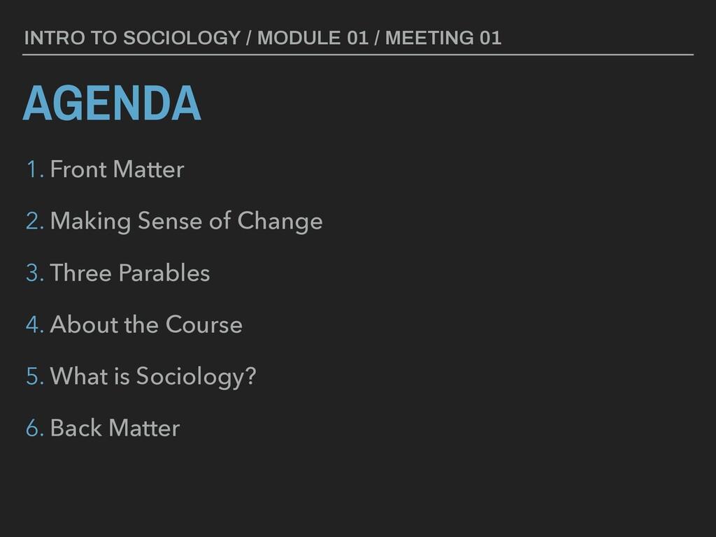 AGENDA INTRO TO SOCIOLOGY / MODULE 01 / MEETING...