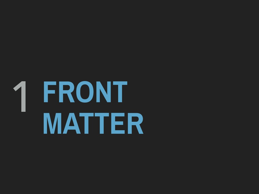 1 FRONT MATTER
