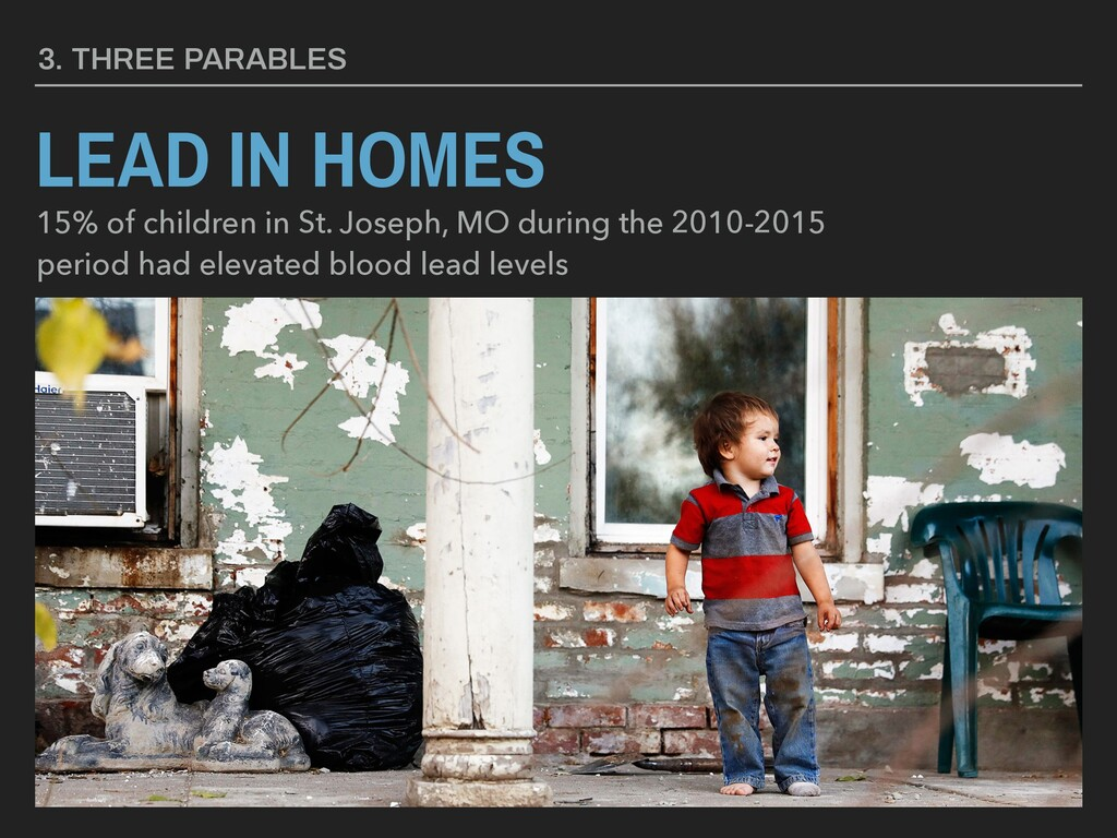 LEAD IN HOMES 3. THREE PARABLES 15% of children...