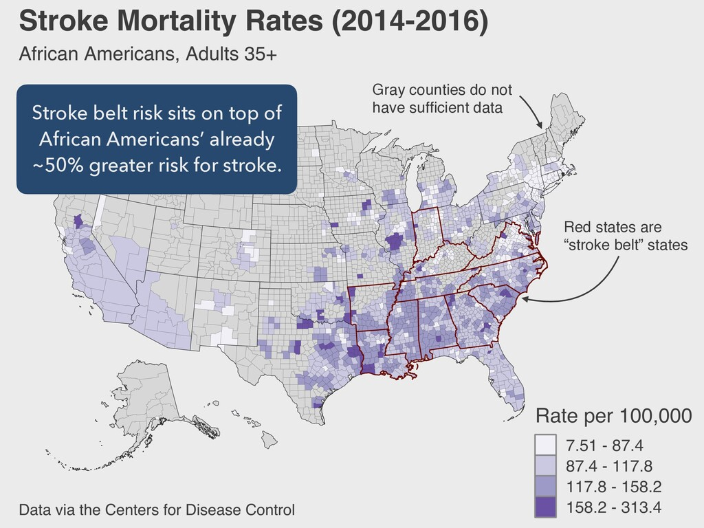 """Red states are """"stroke belt"""" states Gray count..."""