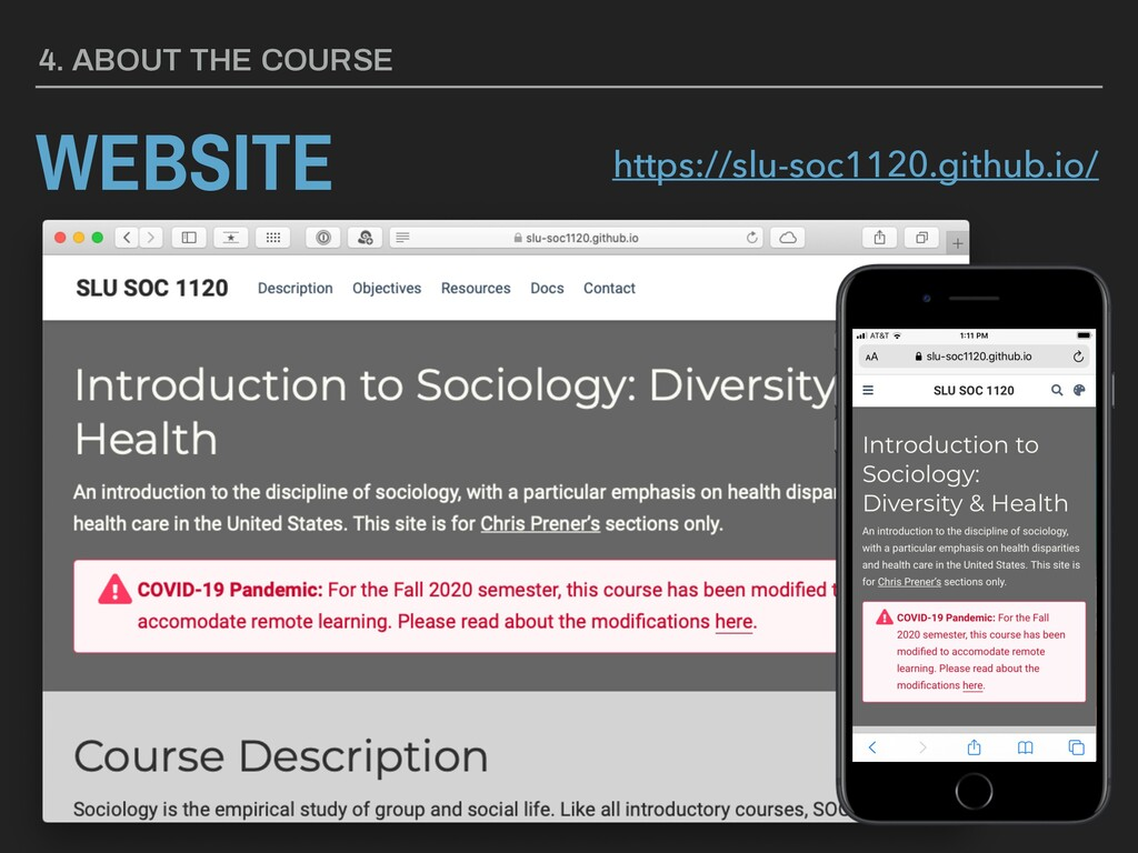 WEBSITE 4. ABOUT THE COURSE https://slu-soc1120...