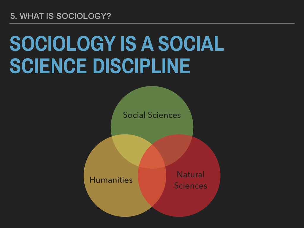 SOCIOLOGY IS A SOCIAL SCIENCE DISCIPLINE 5. WHA...