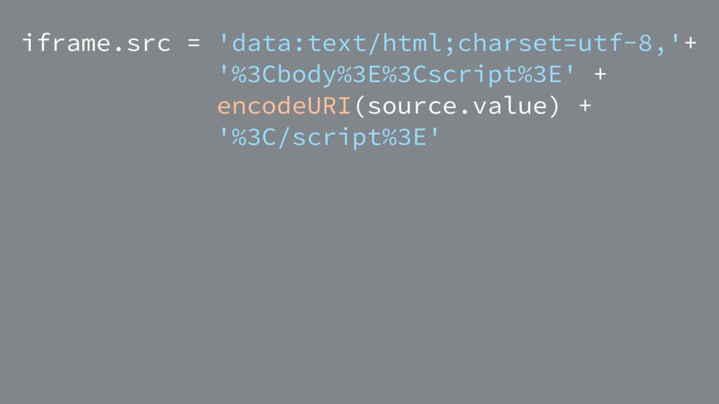 iframe.src = 'data:text/html;charset=utf-8,'+ '...
