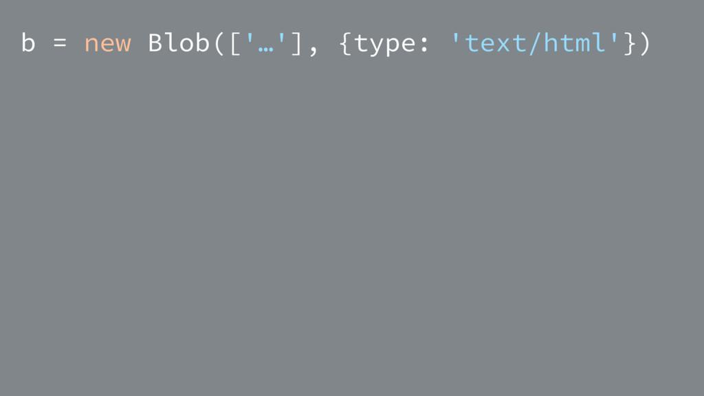 b = new Blob(['…'], {type: 'text/html'})