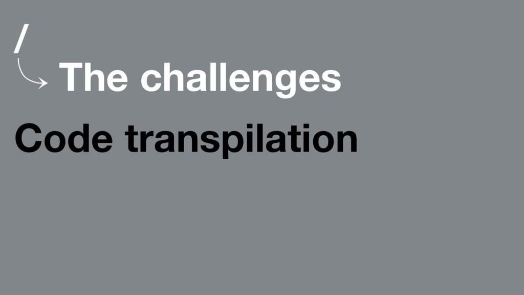 / 䡿 The challenges Code transpilation