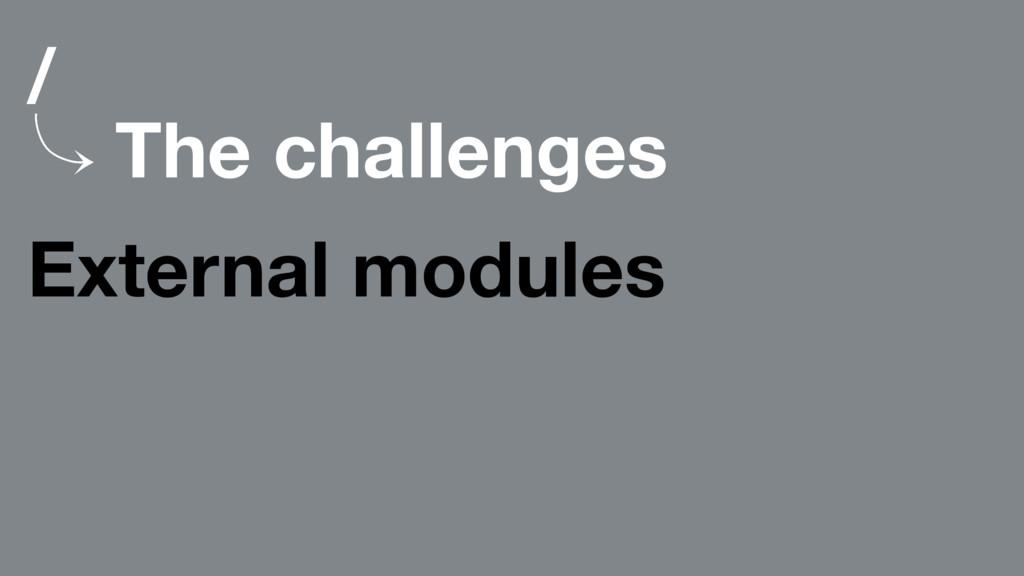 / 䡿 The challenges External modules