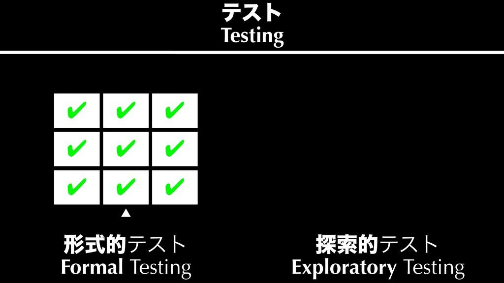 ୳ࡧతςετ Exploratory Testing ˛ ܗࣜతςετ Formal Te...