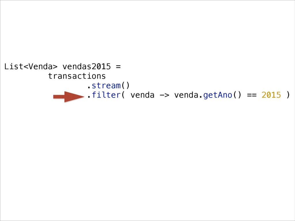 List<Venda> vendas2015 = transactions .stream()...