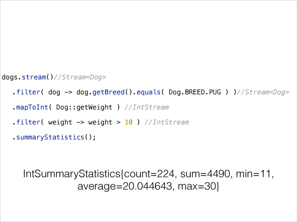dogs.stream()//Stream<Dog> .filter( dog -> dog....