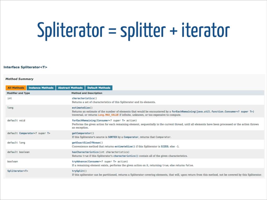 Spliterator = splitter + iterator