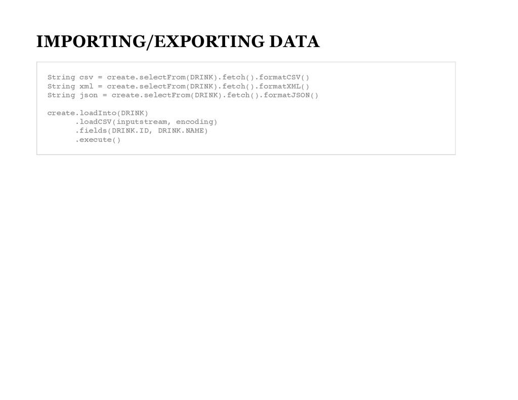 IMPORTING/EXPORTING DATA S t r i n g c s v = c ...