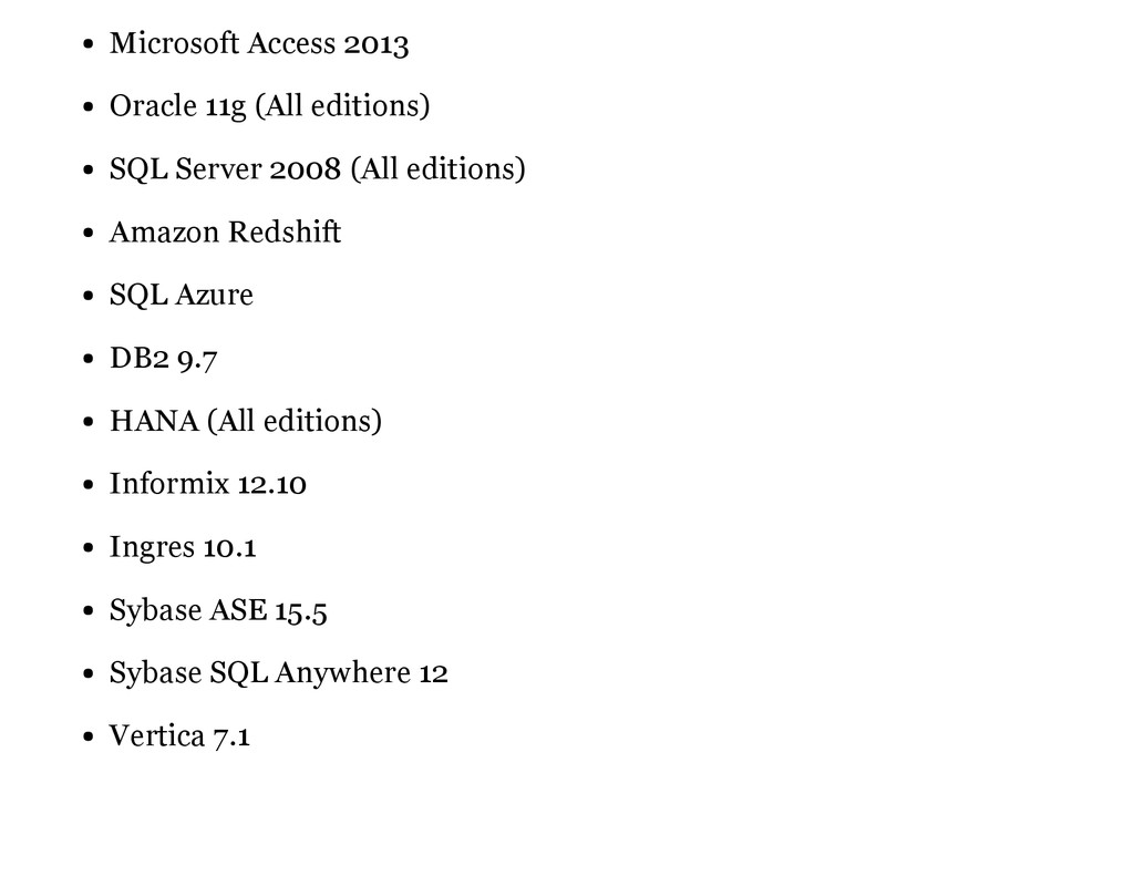 Microsoft Access 2013 Oracle 11g (All editions)...