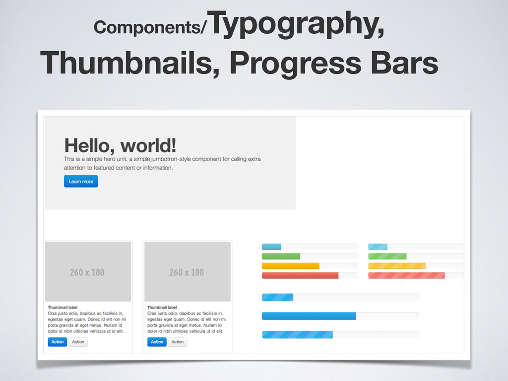 Components/ Typography, Thumbnails, Progress Ba...