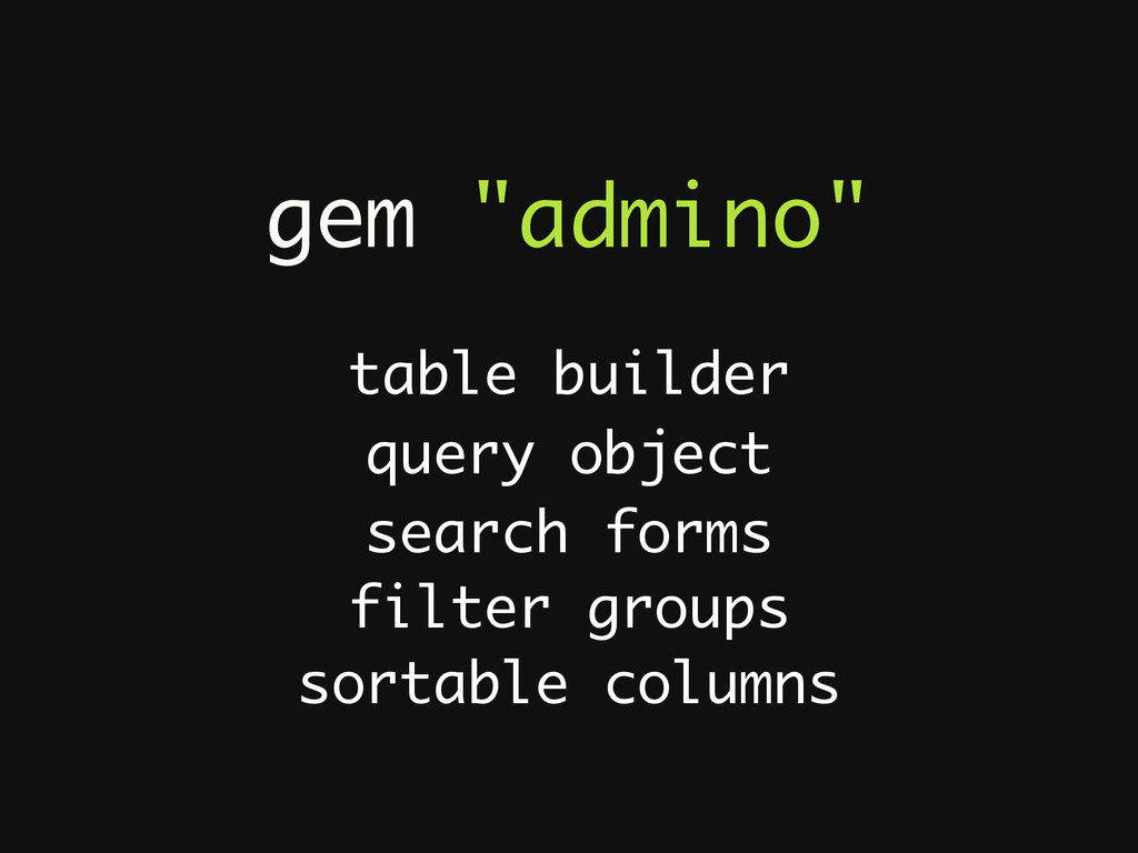 """gem """"admino"""" table builder search forms filter ..."""