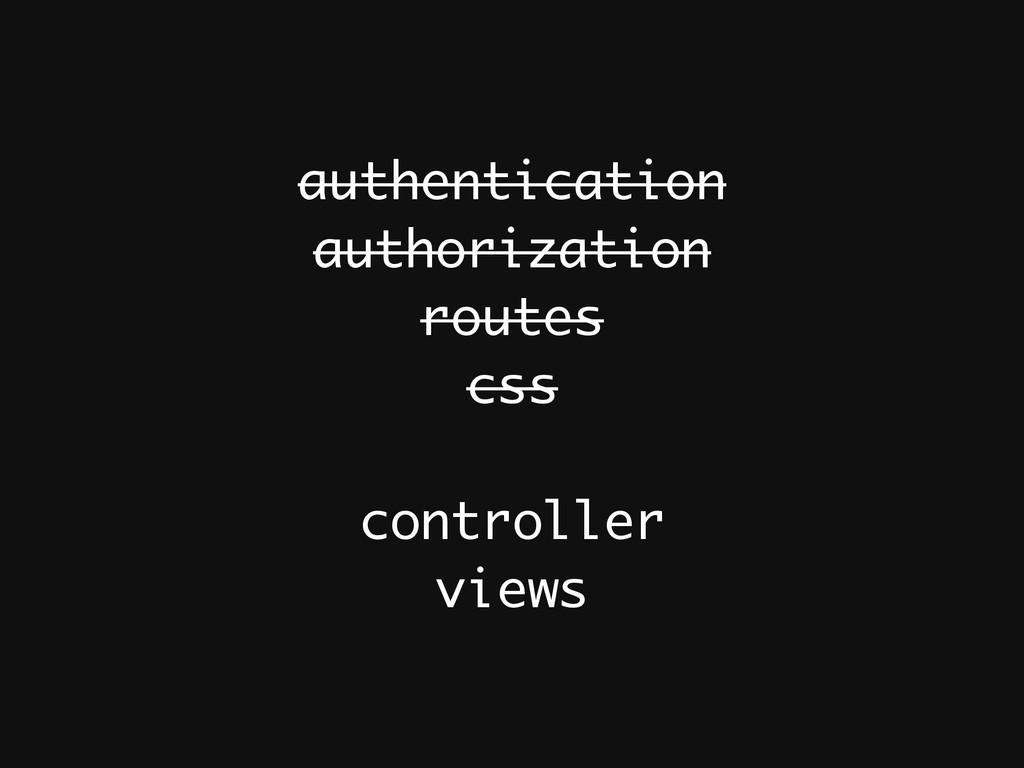 authentication authorization routes css ! contr...