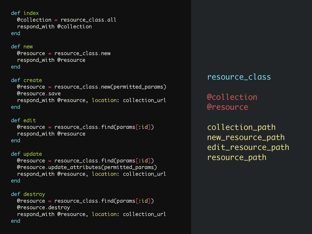 def index @collection = resource_class.all resp...
