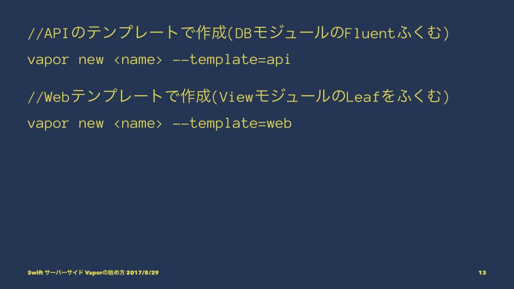 //APIͷςϯϓϨʔτͰ࡞(DBϞδϡʔϧͷFluent;͘Ή) vapor new <n...