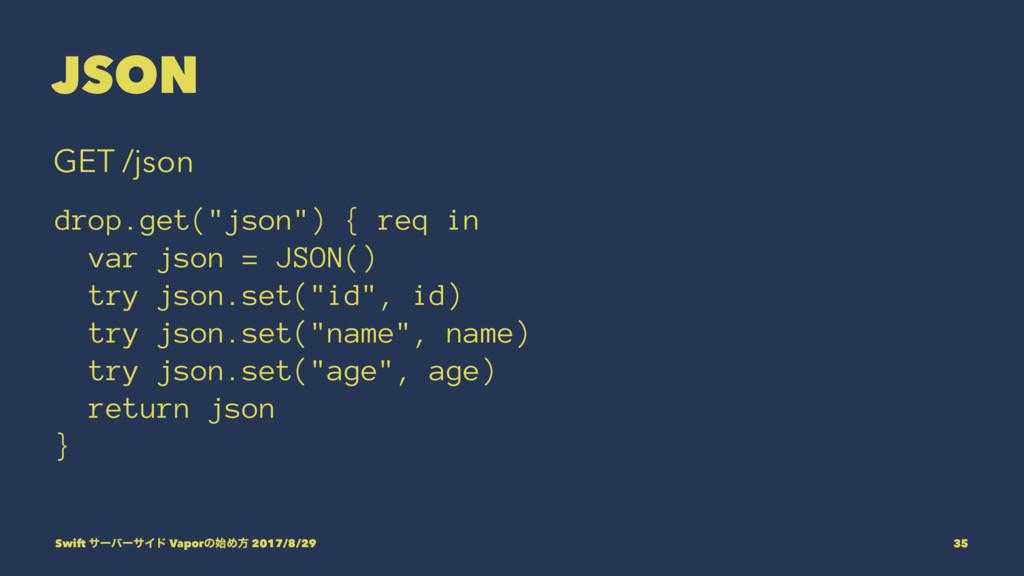 "JSON GET /json drop.get(""json"") { req in var js..."