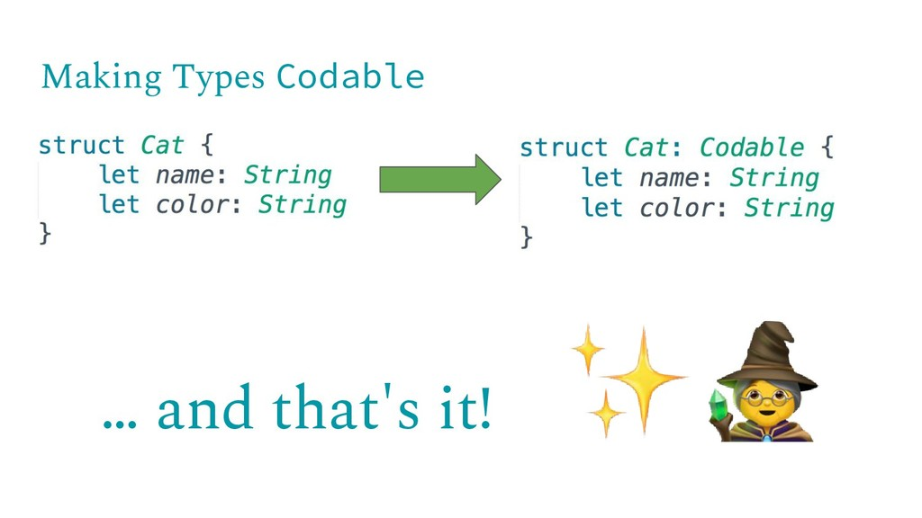 … and that's it! Making Types Codable