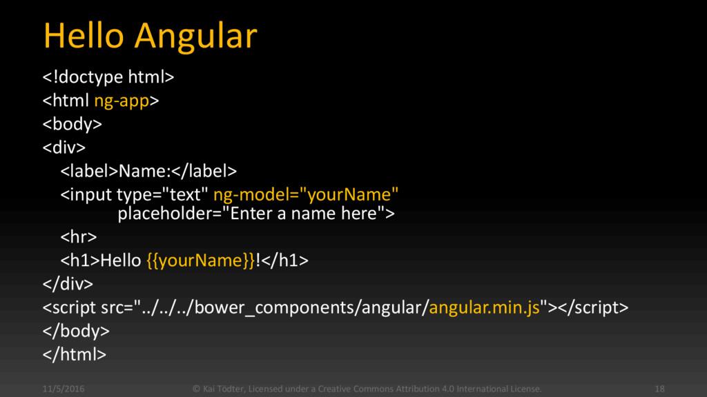 Hello Angular <!doctype html> <html ng-app> <bo...