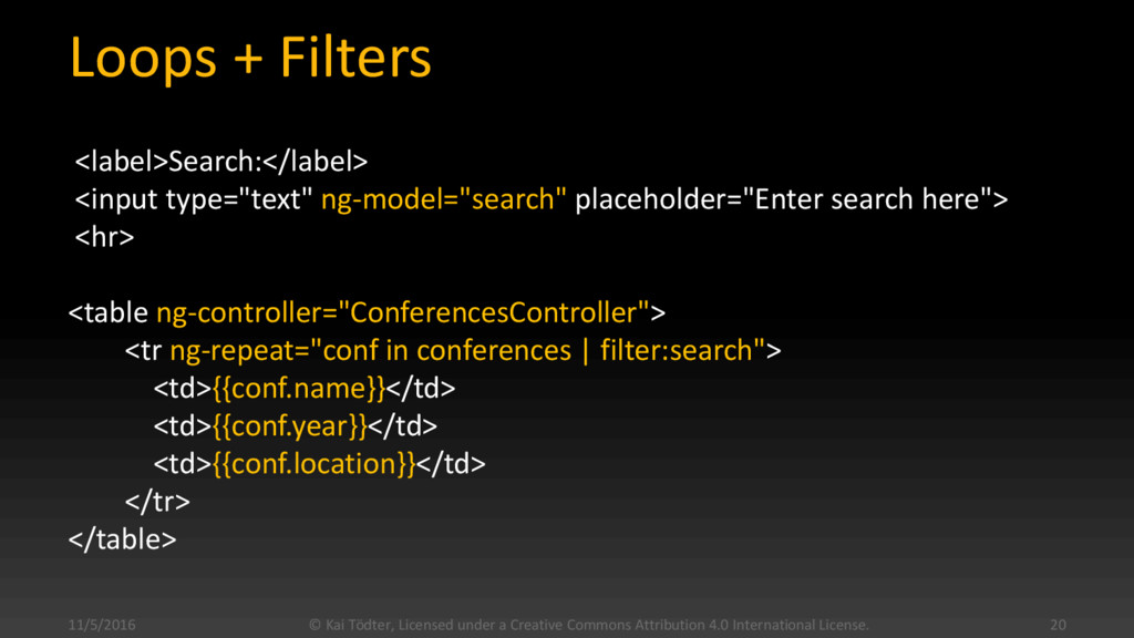 Loops + Filters <label>Search:</label> <input t...