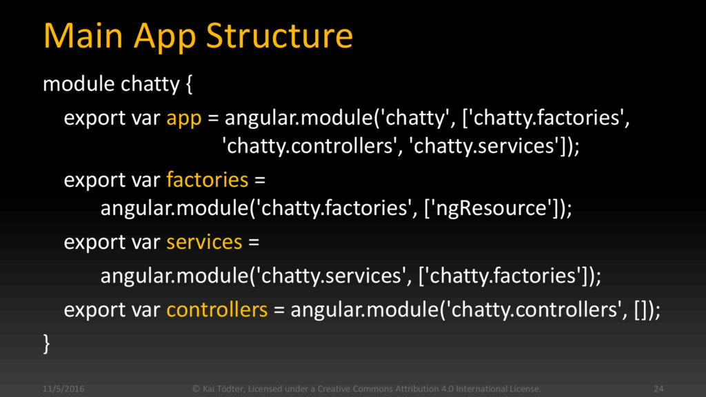 Main App Structure module chatty { export var a...