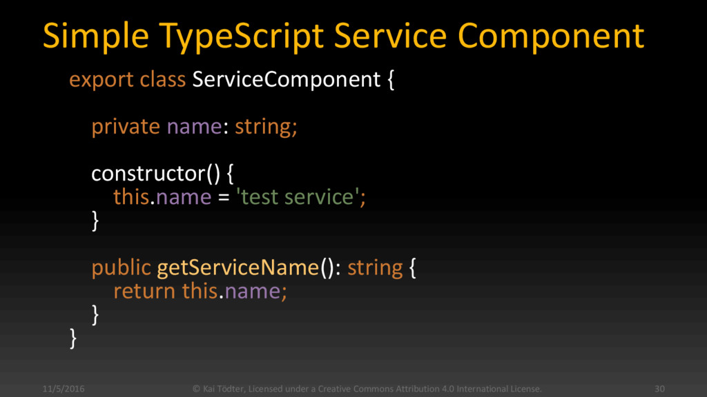 Simple TypeScript Service Component export clas...