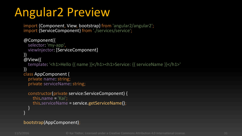 Angular2 Preview import {Component, View, boots...