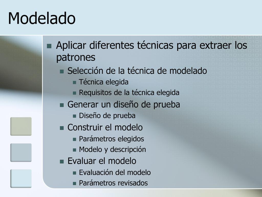 Modelado n Aplicar diferentes técnicas para e...