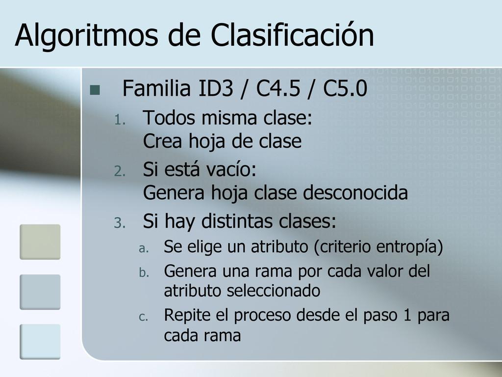 Algoritmos de Clasificación n Familia ID3 / C...