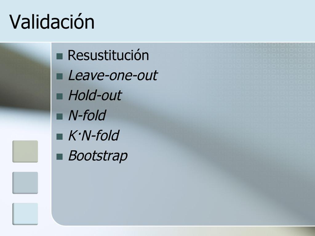Validación n Resustitución n Leave-one-out ...