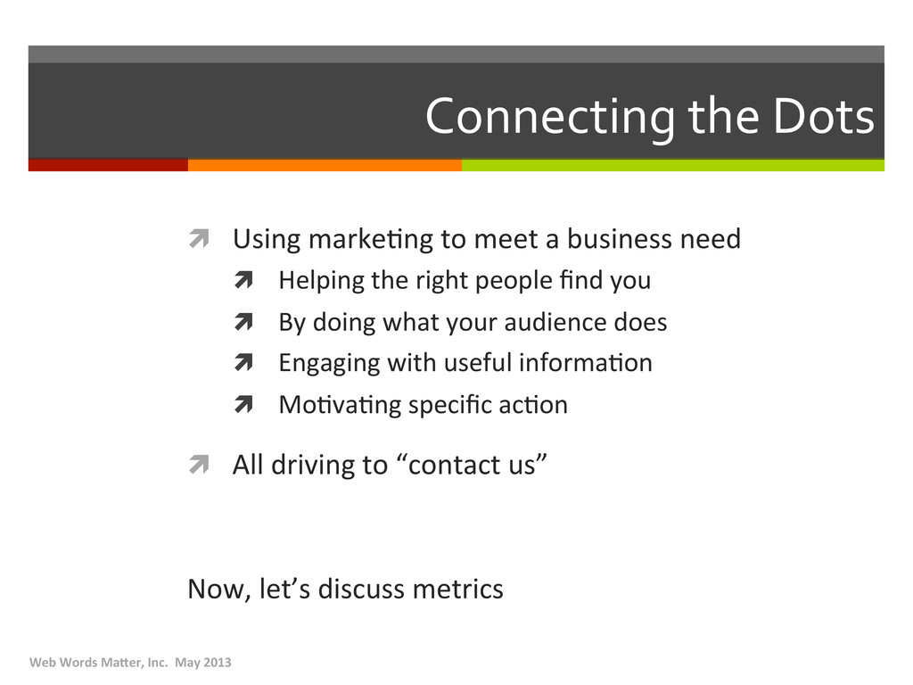 Connecting the Dots  ì Using mark...