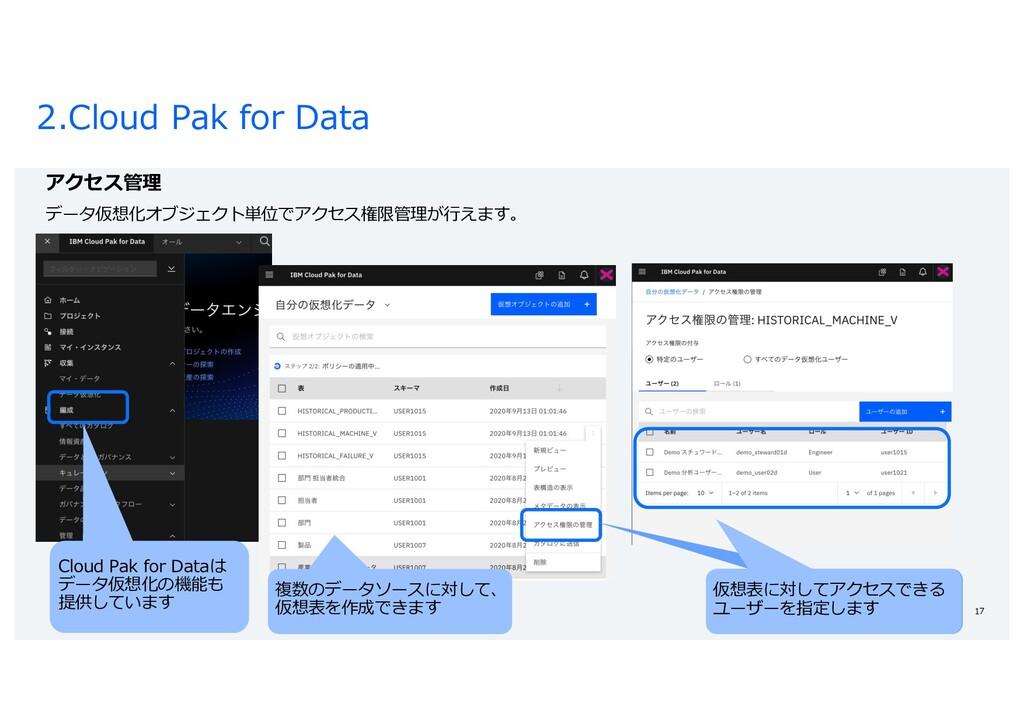 2.Cloud Pak for Data 17 アクセス管理 データ仮想化オブジェクト単位でア...