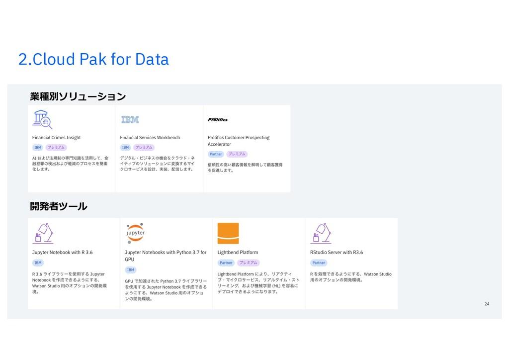 2.Cloud Pak for Data 24 業種別ソリューション 開発者ツール