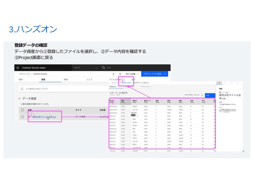 3.ハンズオン 29 登録データの確認 データ資産から①登録したファイルを選択し、②データ内容...