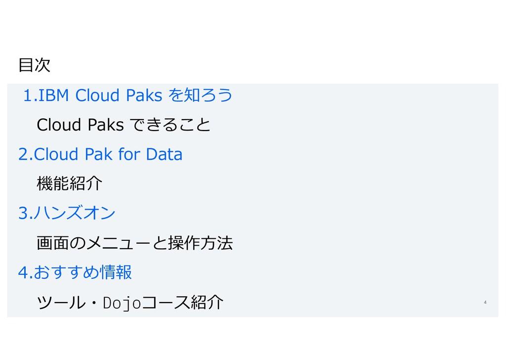⽬次 1.IBM Cloud Paks を知ろう Cloud Paks できること 2.Clo...