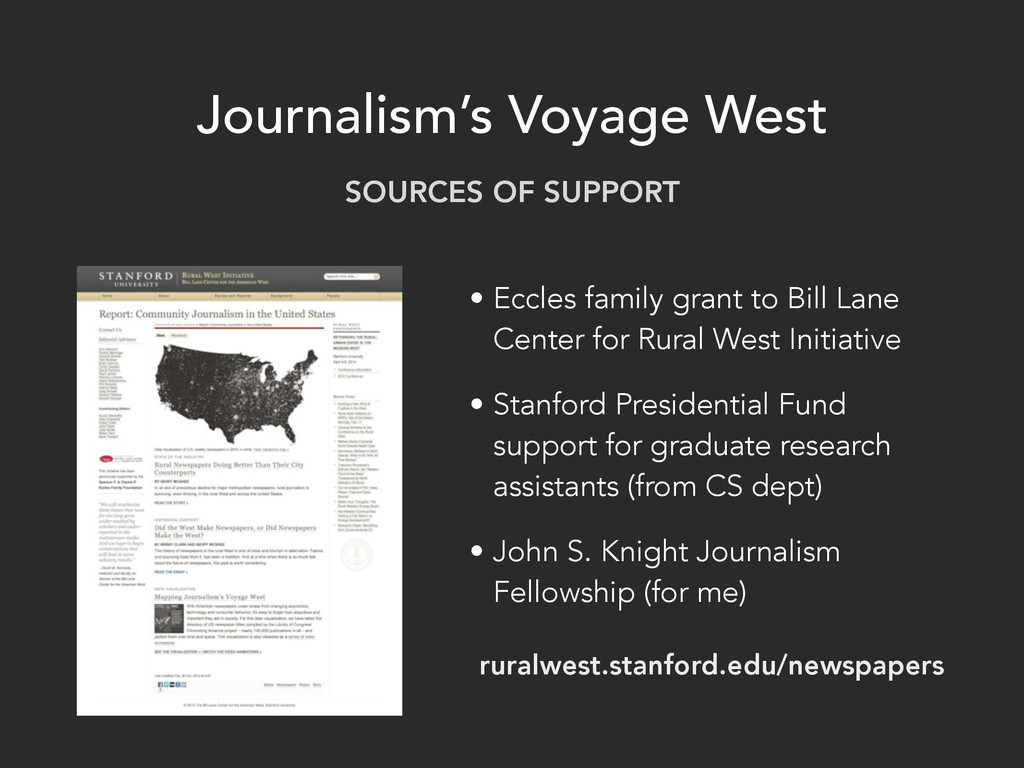 Journalism's Voyage West • Eccles family grant ...