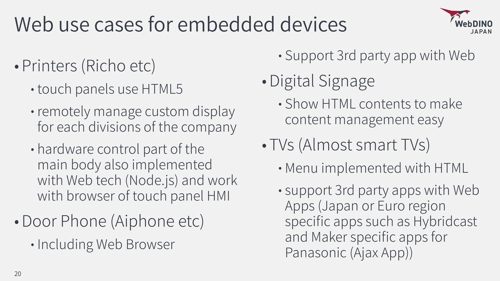 Web use cases for embedded devices Printers (Ri...