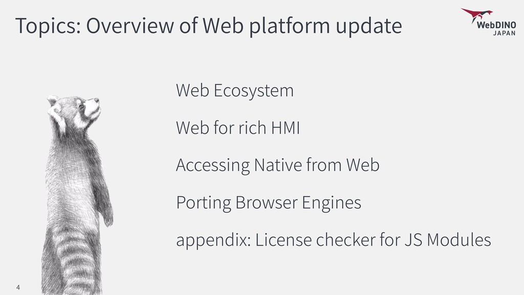 Topics: Overview of Web platform update Web Eco...